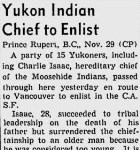 Yukon Indian Chief to Enlist